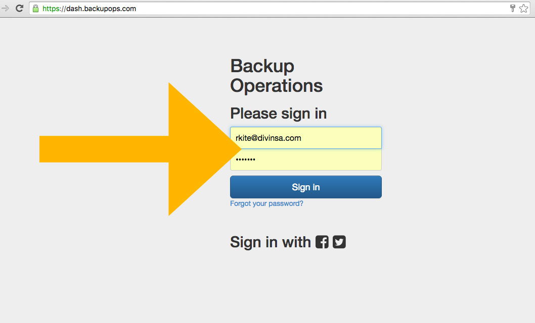 login to the Backup Operations Web Console