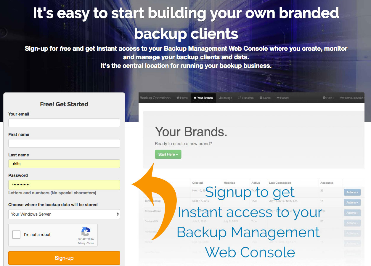 signup for a free account to the Backup Management Web Console to build your client